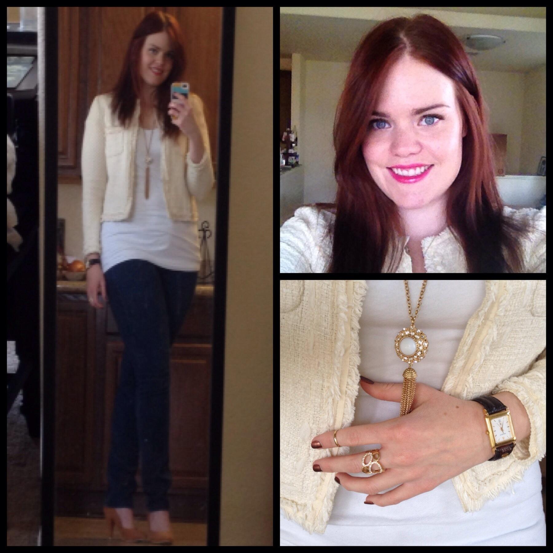 Zara Lookbook OOTD tweed jacket nude pumps white shirt