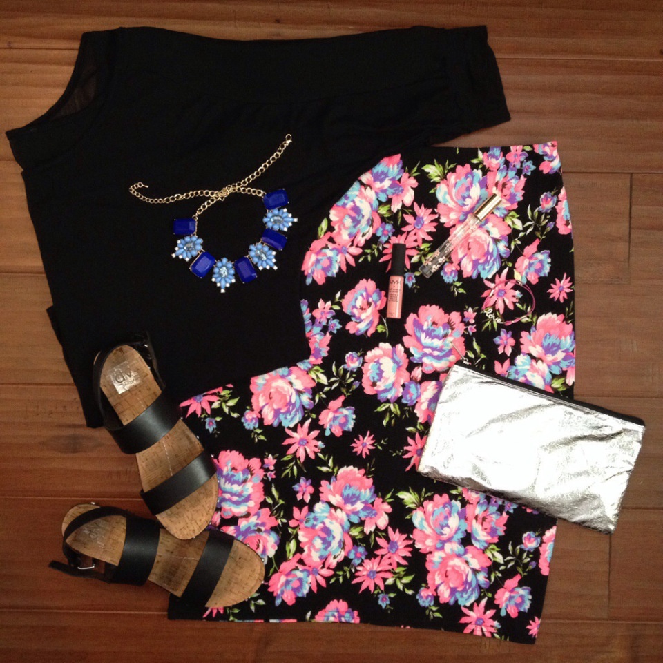 floral print midi skirt ootd lookbook outfit idea statement necklace flats dolce vita clutch