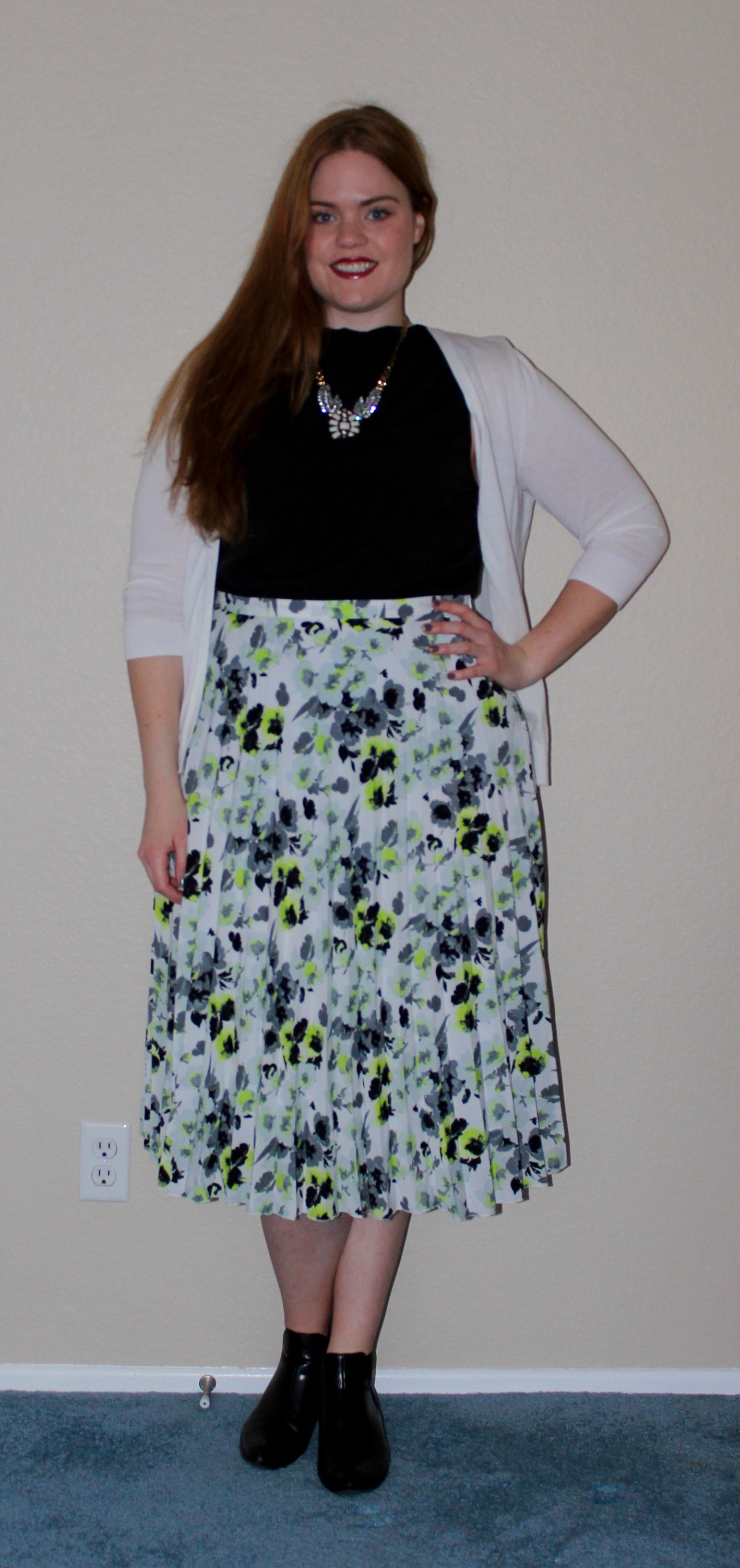 Pleated Floral Skirt and Dark Lips OOTD